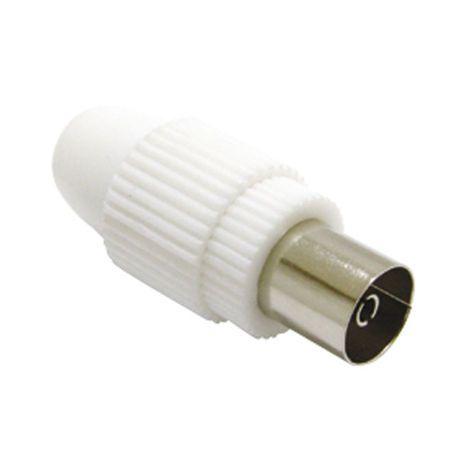 Conector TV 9,5mm recte famella blanc