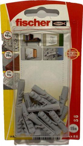 Blister 15 Tacs Nylon S6X30 Gris Fischer