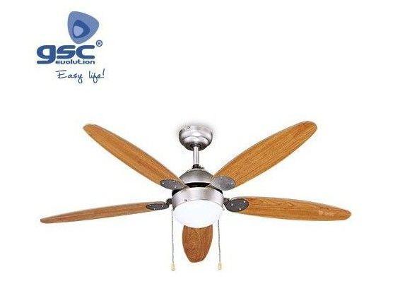 Ventilador Sostre Niquel/Fusta 132cms 5 Pales/Llum
