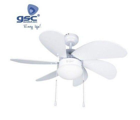 Ventilador Sostre Fusta Blanc 81cms 5 Pales/Llum