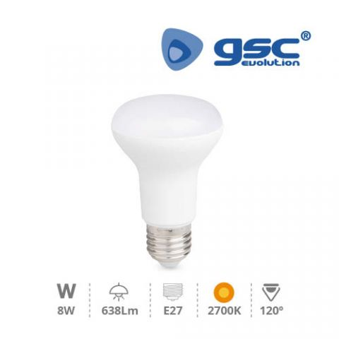 Reflectora R-63 LED 8w/220v E-27 2700K CÀLIDA
