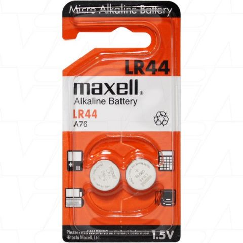 Pila botó alkalina 1,5V LR44 A76 V13GA Maxell 10U
